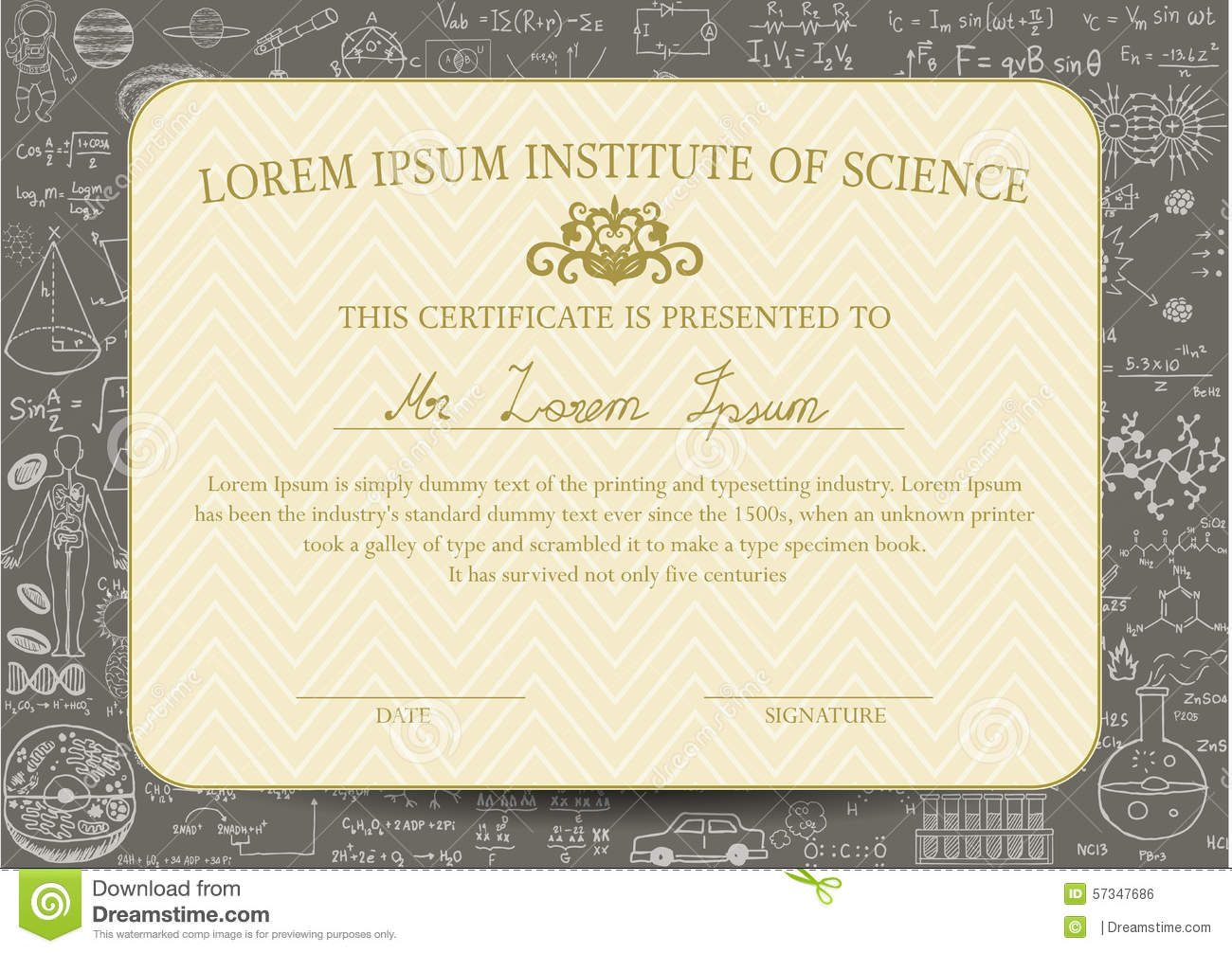 Certificate template is designed for science or education field certificate template is designed for science or education field and decorated with chalkboard background yadclub Gallery