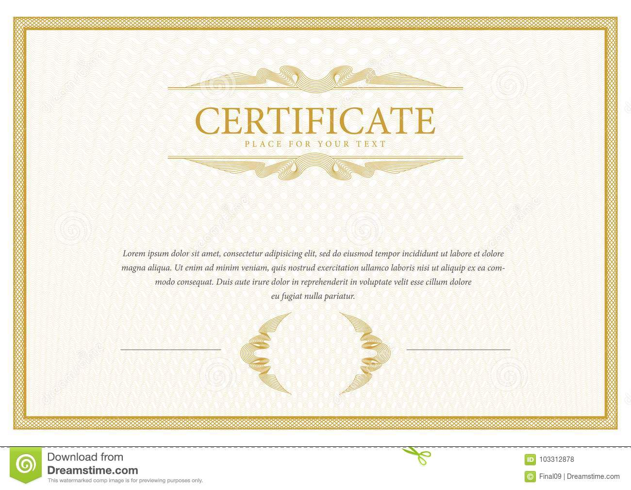 Certificate Template Diploma Currency Border Stock Vector