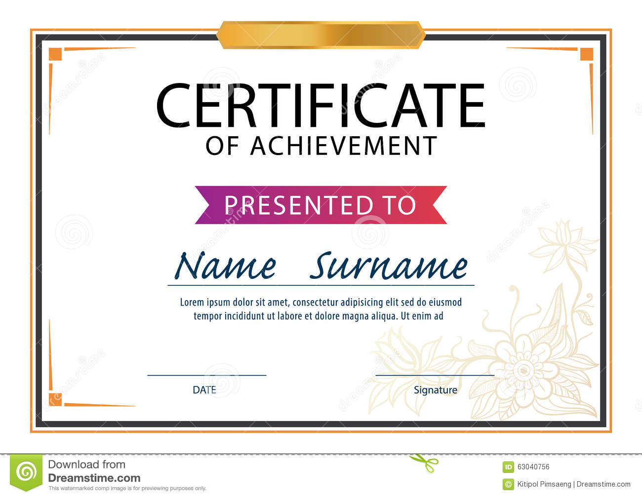 Certificate Templatediploma Layouta4 Size Illustration 63040756