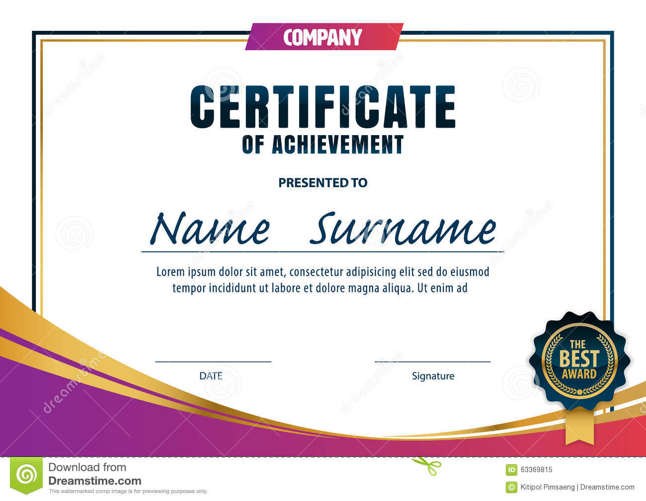 Certificate Template Diploma Layout Stock Vector Image
