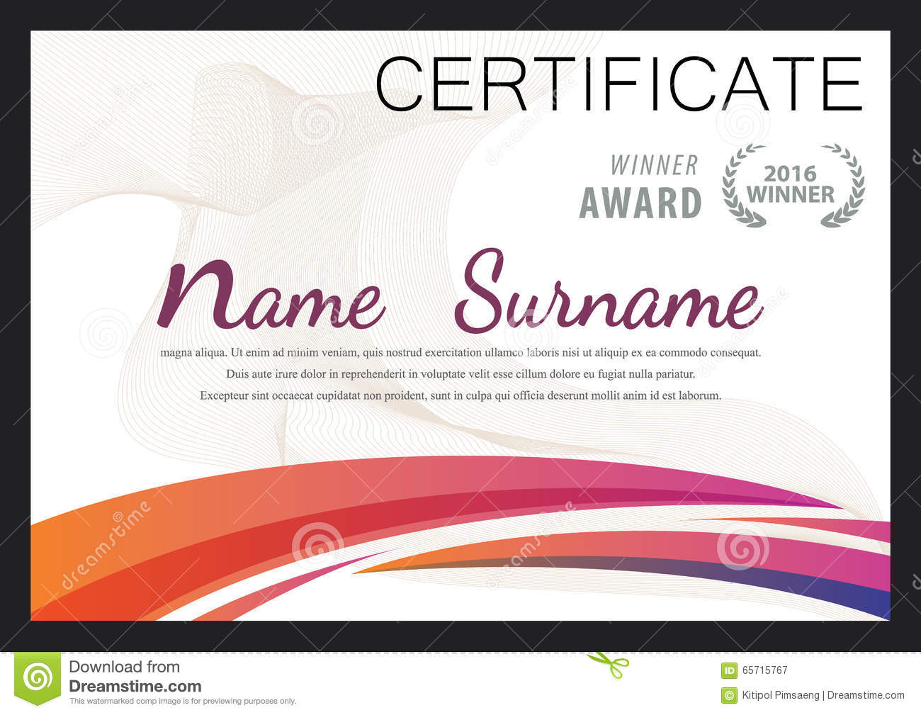 Certificate templatediploma layout stock vector illustration of certificate templatediploma layout calligraphy gift alramifo Image collections