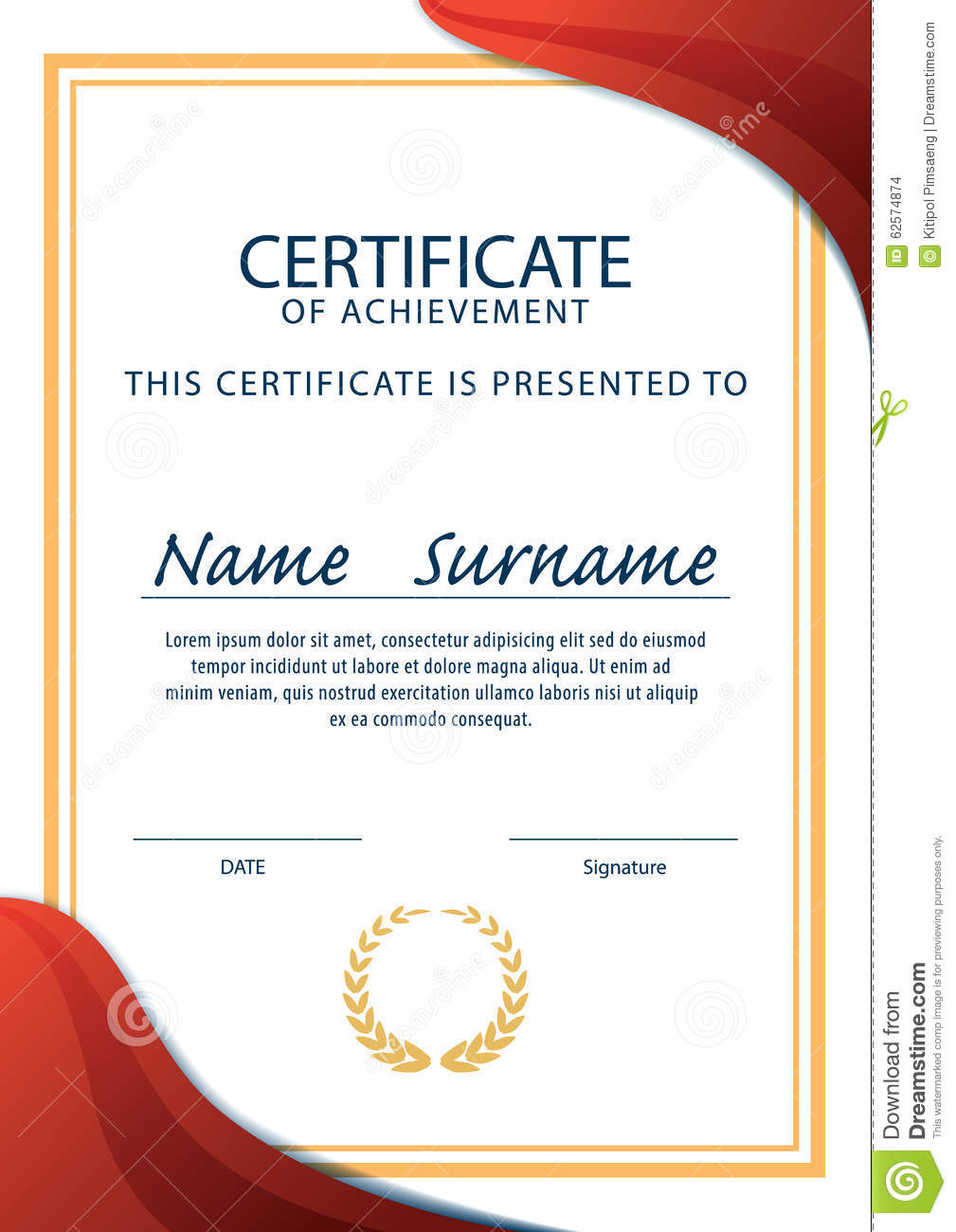 A4 size blank certificate designs the for Certificate design template