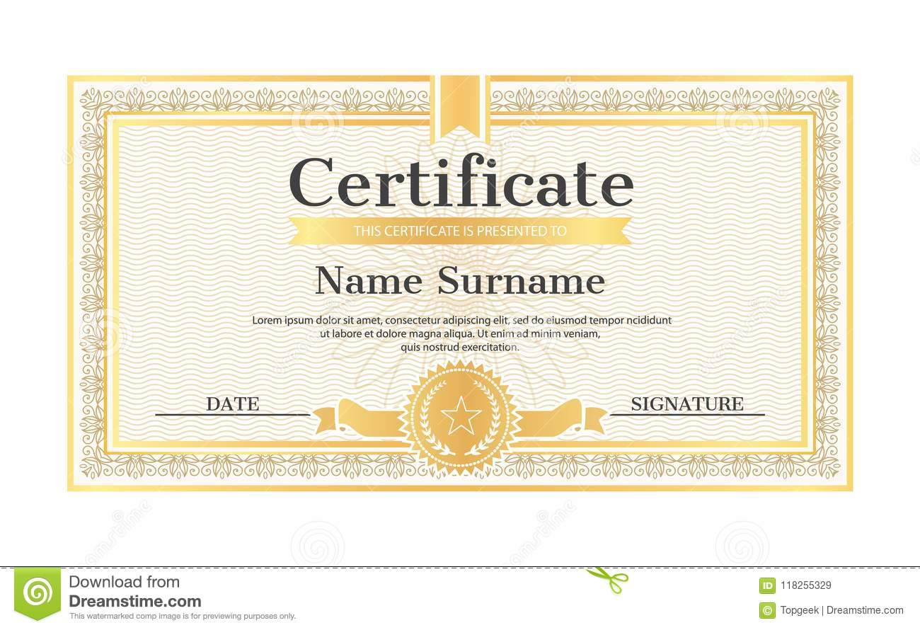 Certificate Template Editable Name Surname Date