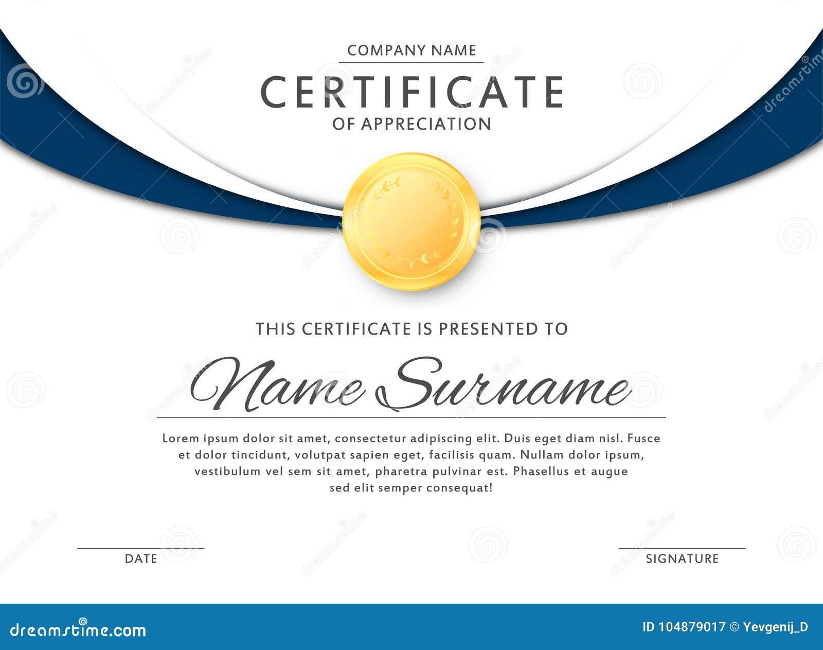 certificate template in elegant black and blue colors certificate