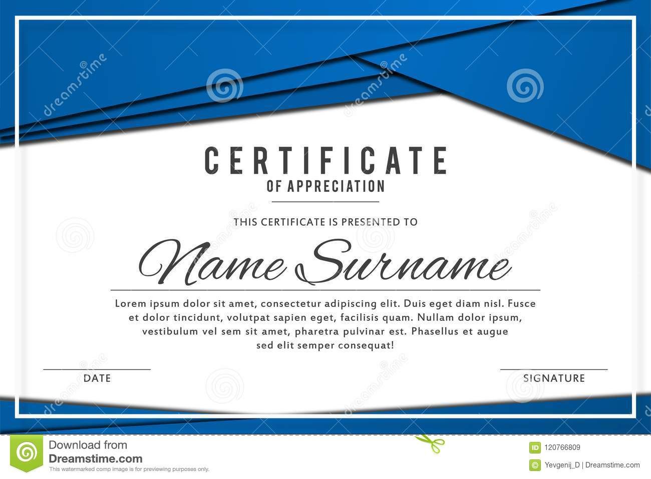 Certificate Template In Elegant Blue Color With Abstract Borders