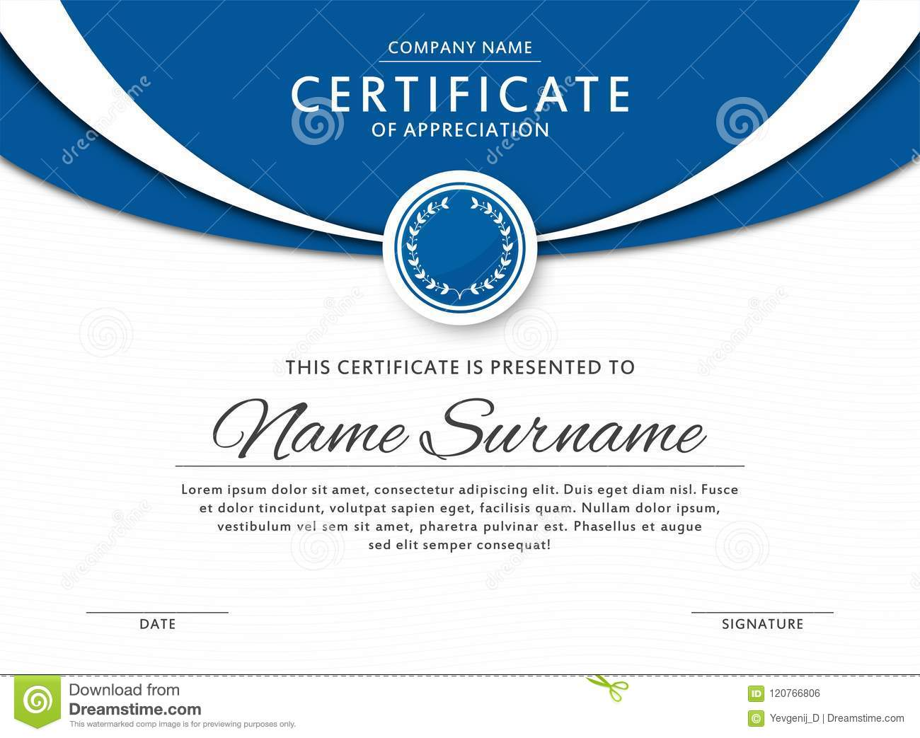 Certificate Template In Elegant Blue Color With Medal And Abstract ...