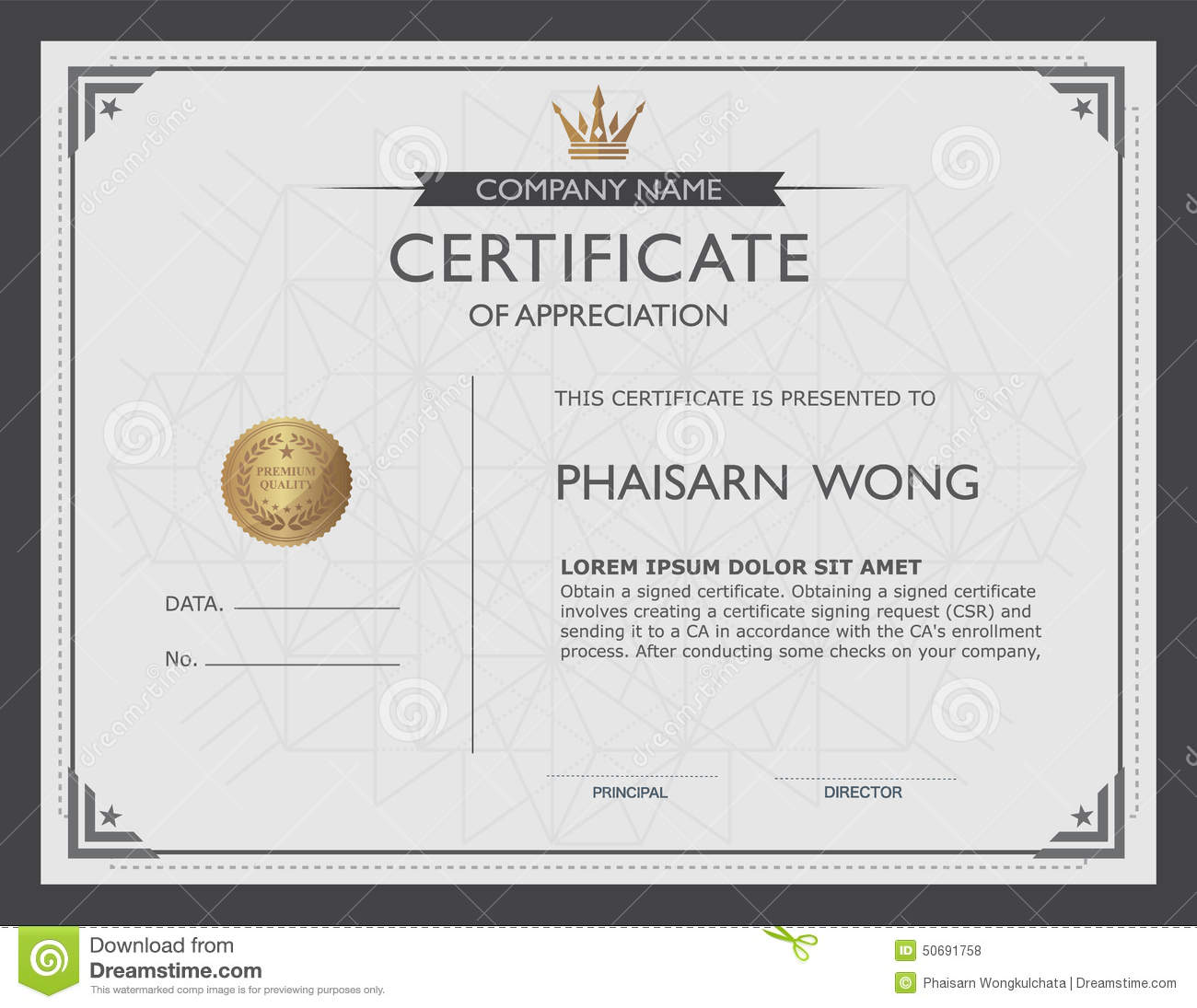 Certificate Template And Element. Stock Vector ...