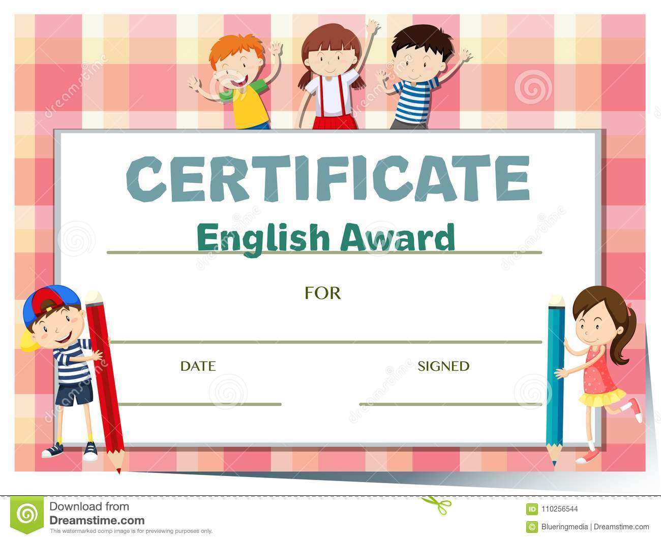Certificate Template For English Award With Many Kids Stock Vector