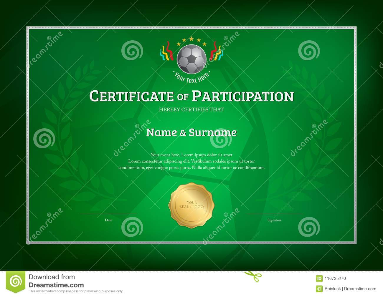 Certificate Template In Football Sport Theme With Green