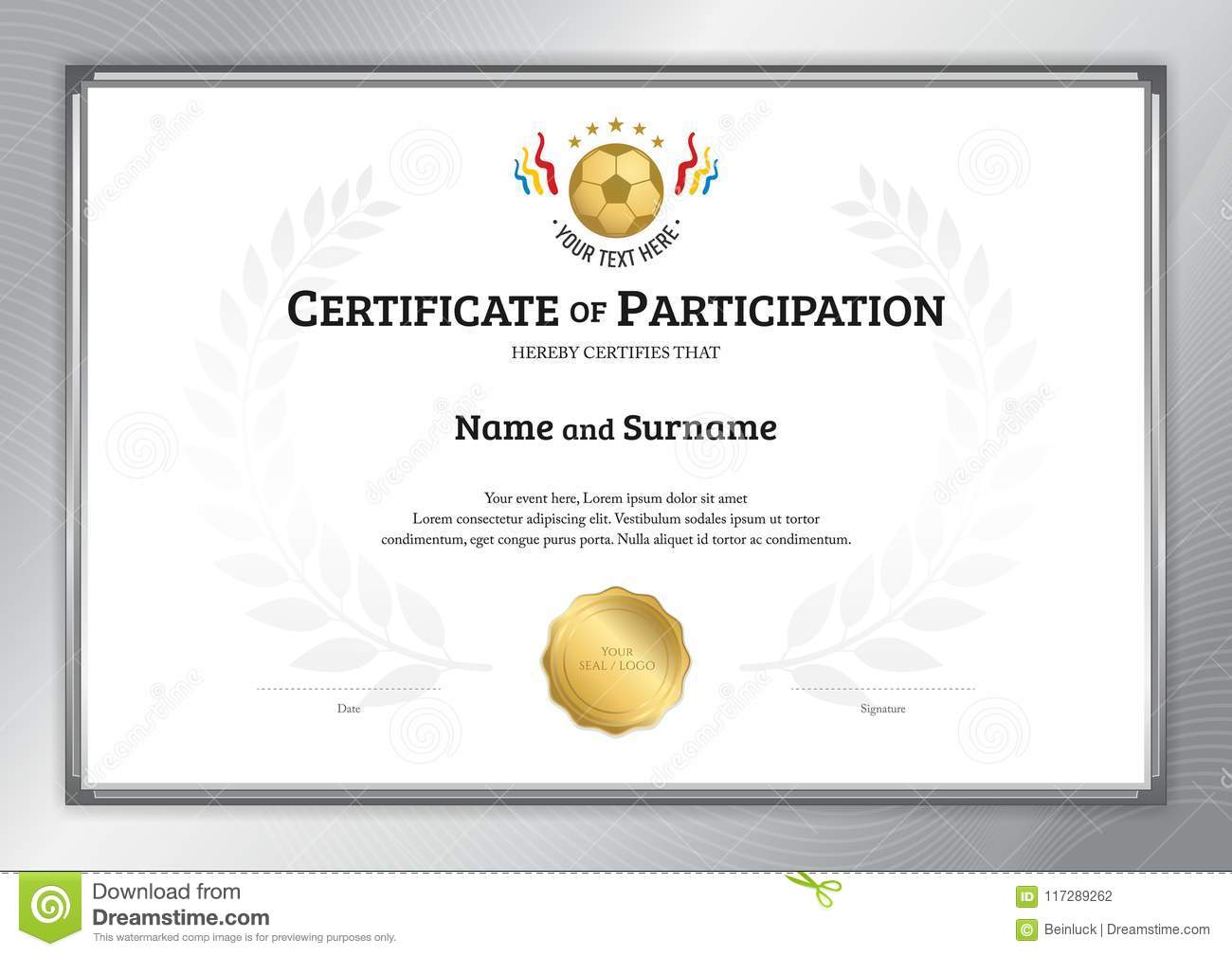 certificate template in football sport theme with silver border