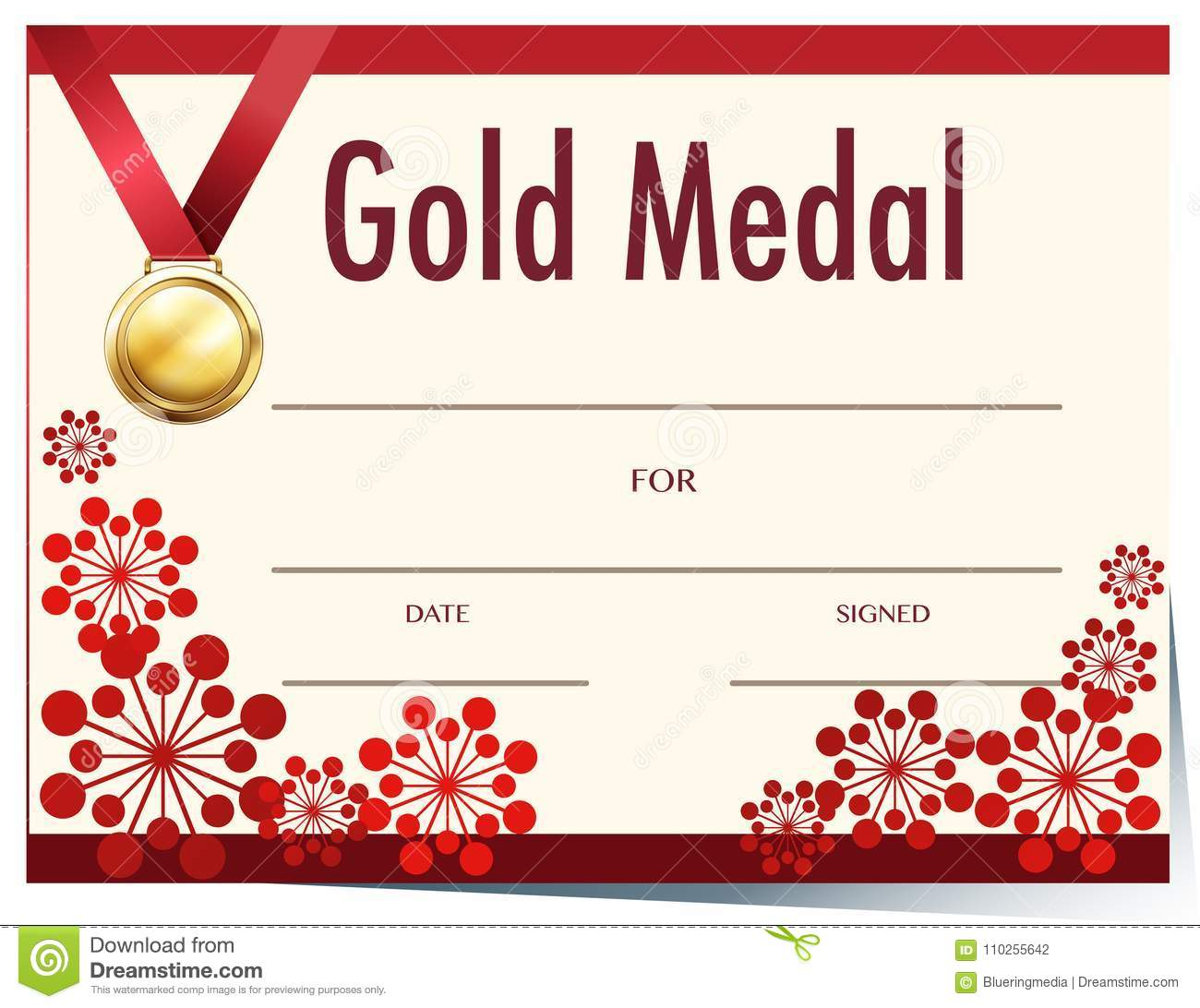 Certificate Template With Gold Medal Stock Vector Illustration Of