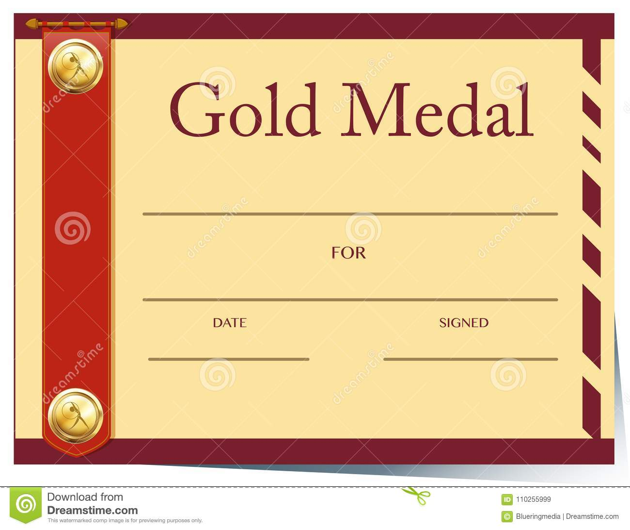 Certificate Template For Gold Medal On Paper Stock Vector