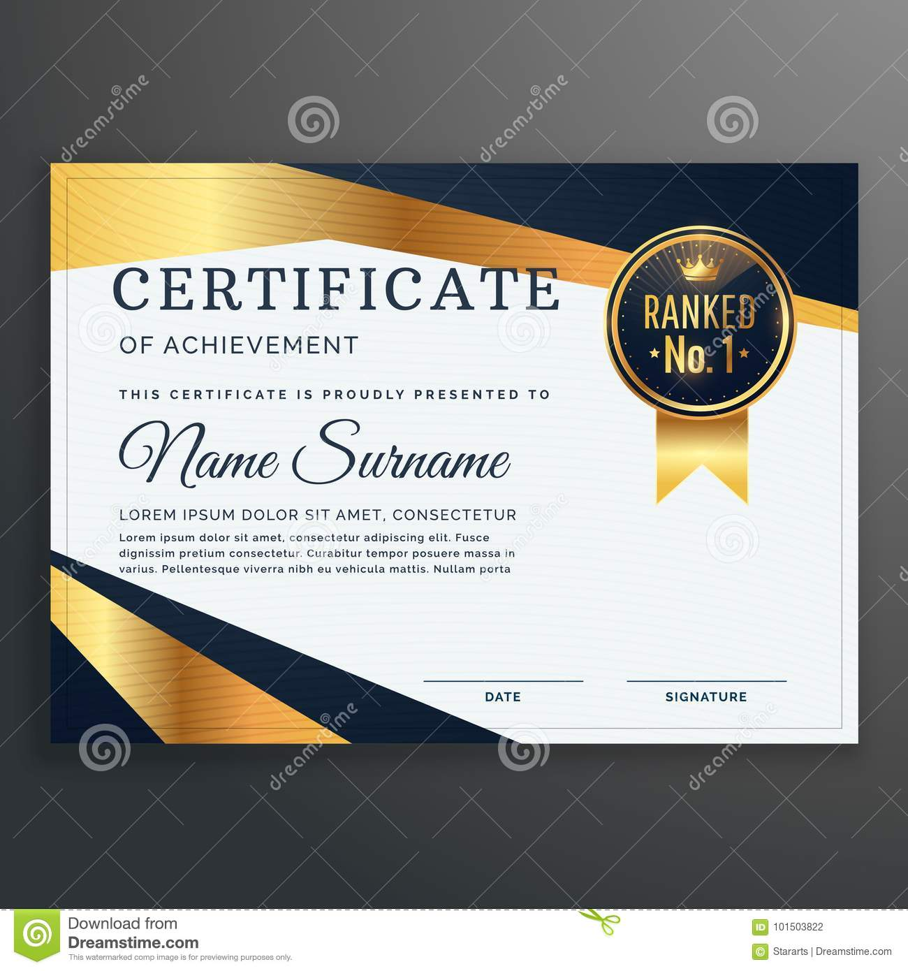 Certificate Template With Golden And Black Shapes Vector Stock