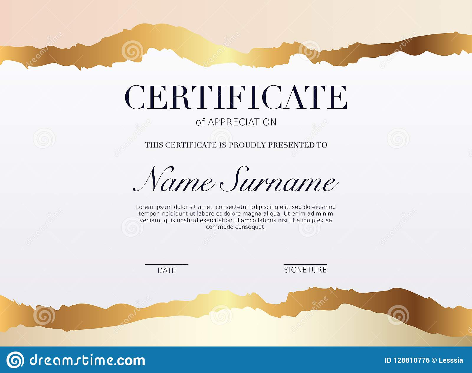 Certificate Template With Golden Decoration Element Design Dipl