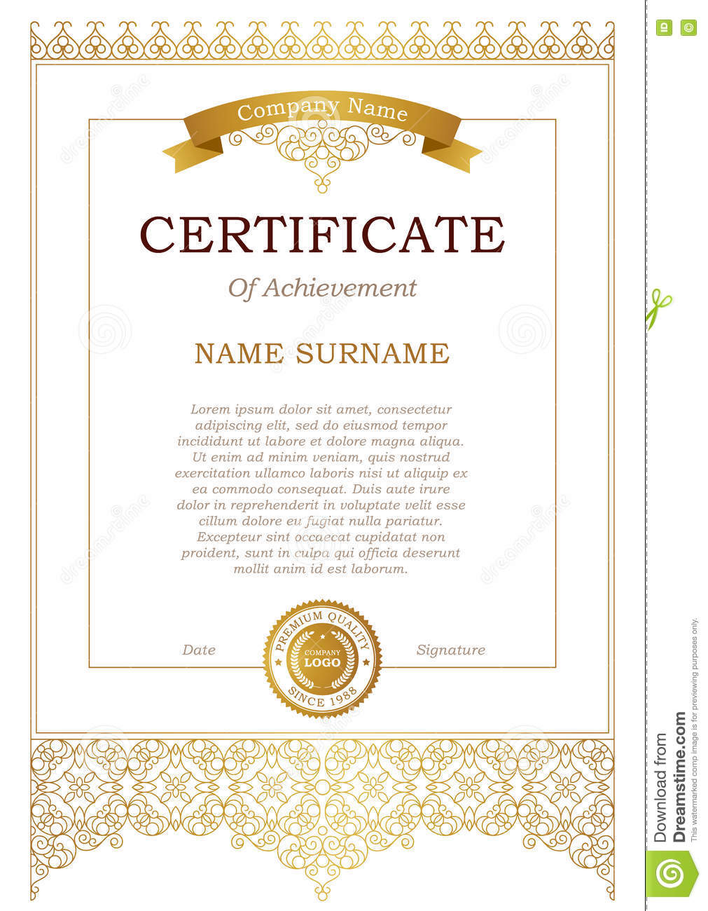 certificate template with golden ribbon stock vector illustration