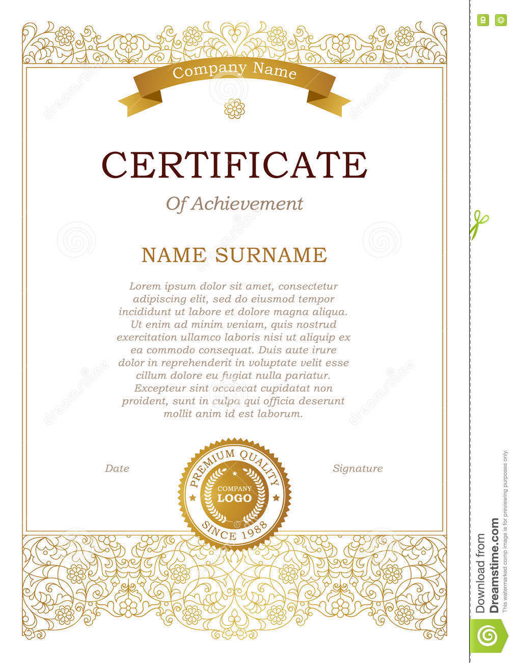 Certificate template with golden ribbon stock vector illustration certificate template with golden ribbon alramifo Gallery