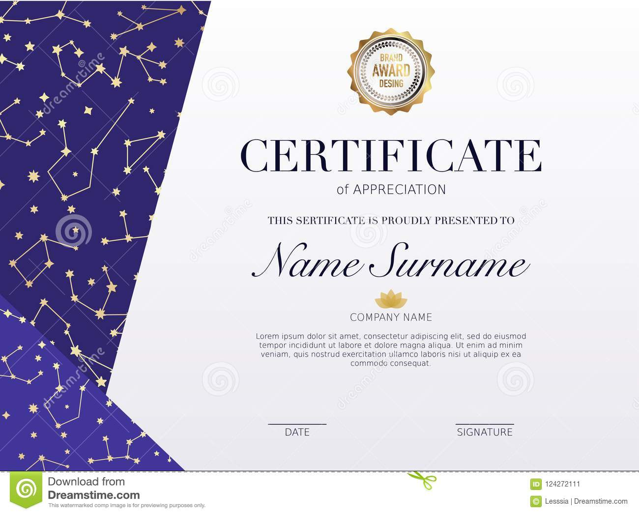 Certificate Template With Golden Stars Element Design Diploma G