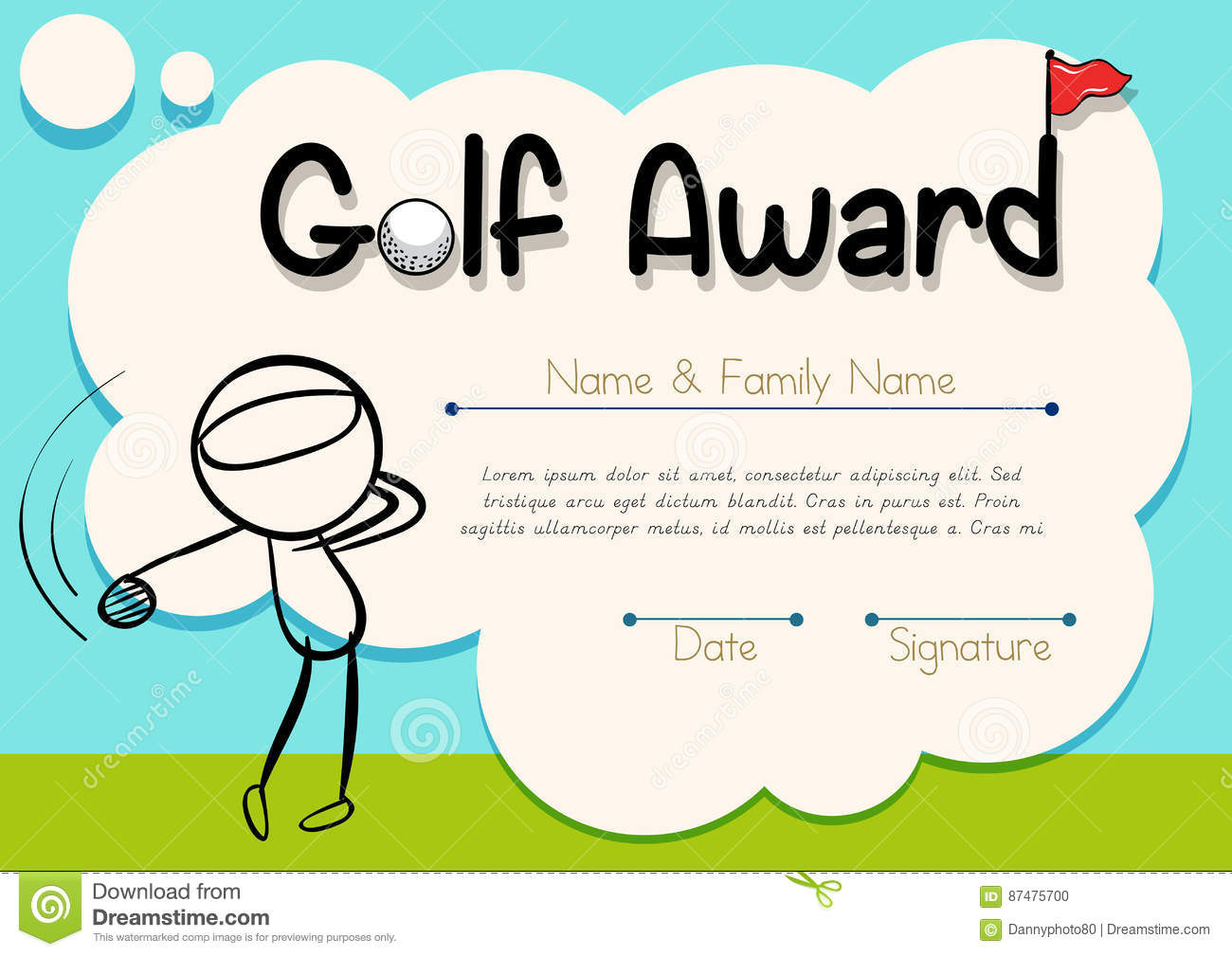 certificate template with golf player stock vector illustration of