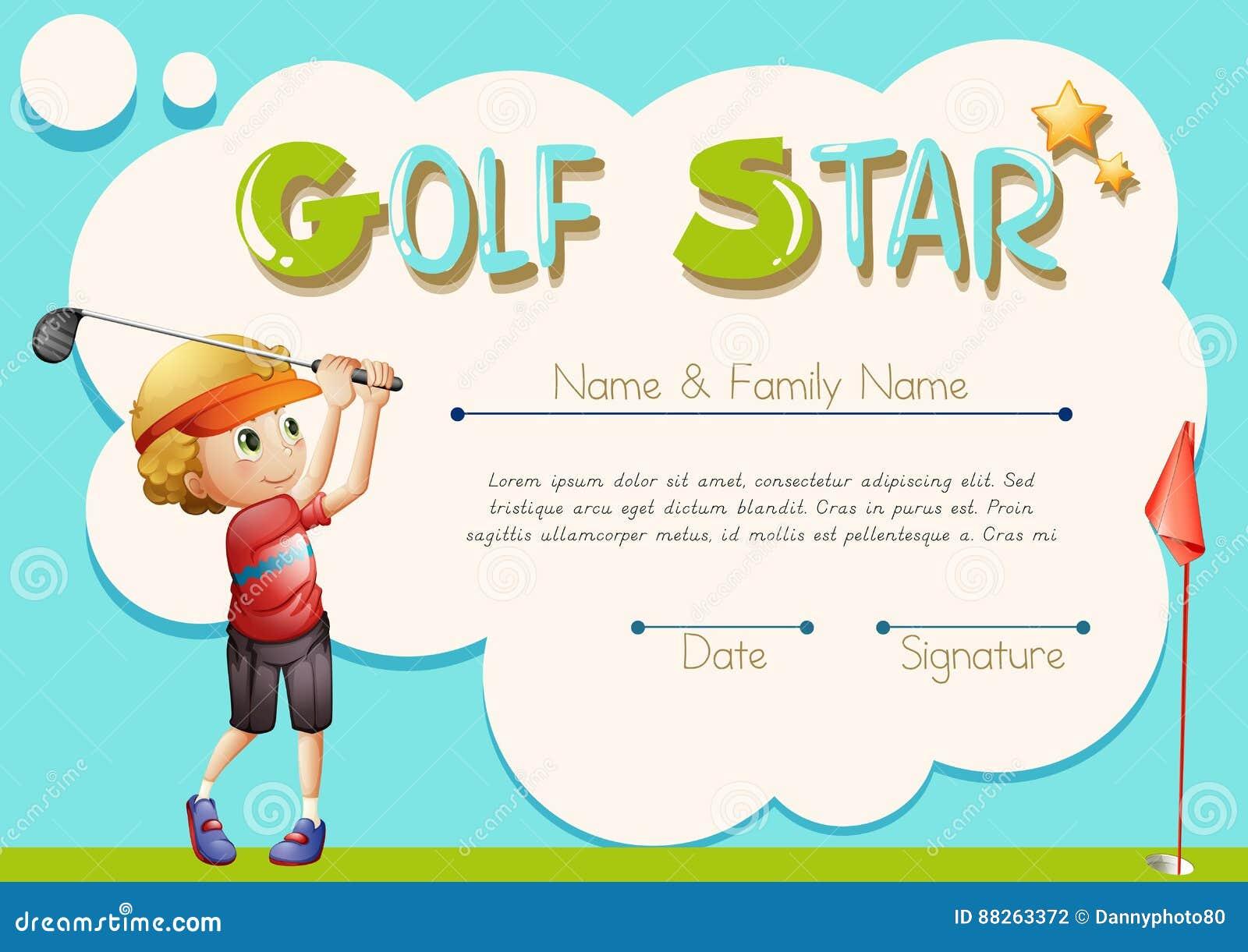 Certificate Template For Golf Star Stock Vector Illustration Of