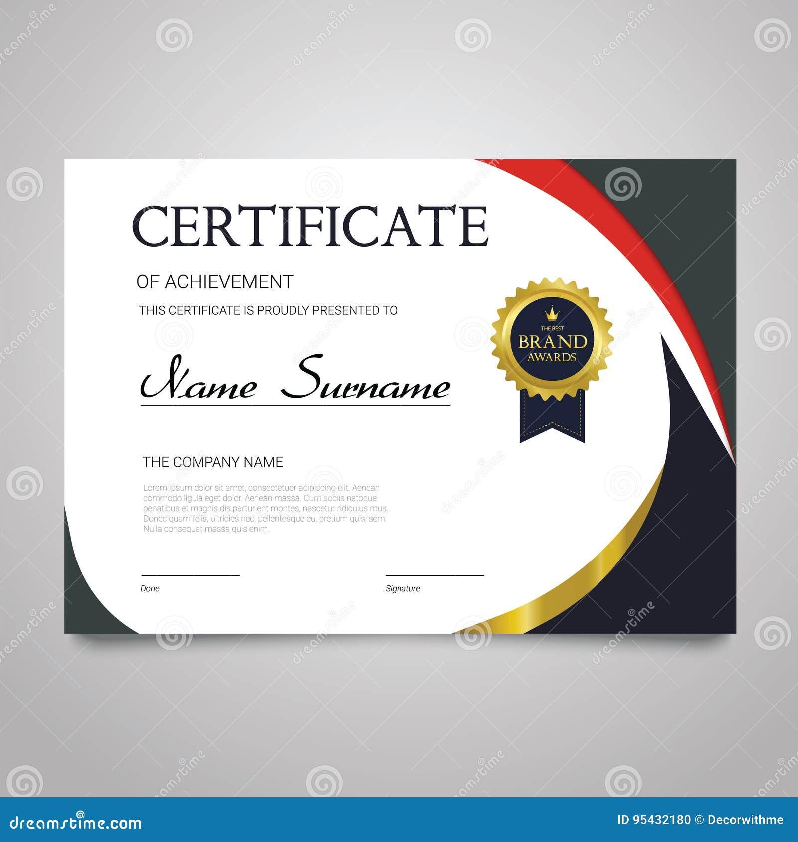 Certificate Template Horizontal Elegant Vector Document Stock