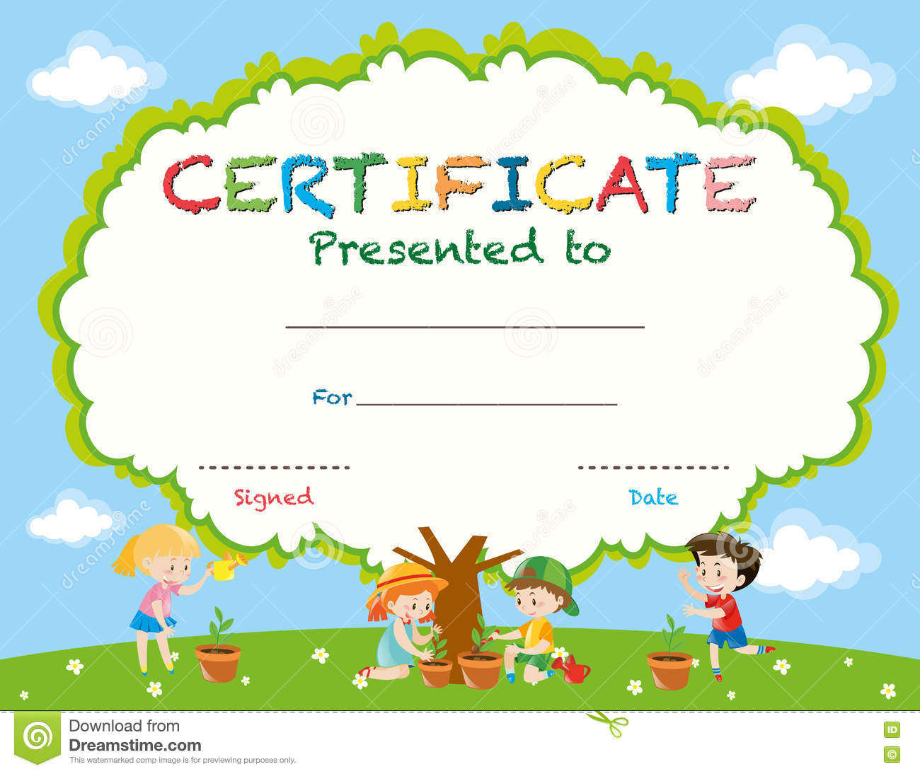 Certificate Template With Kids Planting Trees Vector Image – Certificate Template for Kids