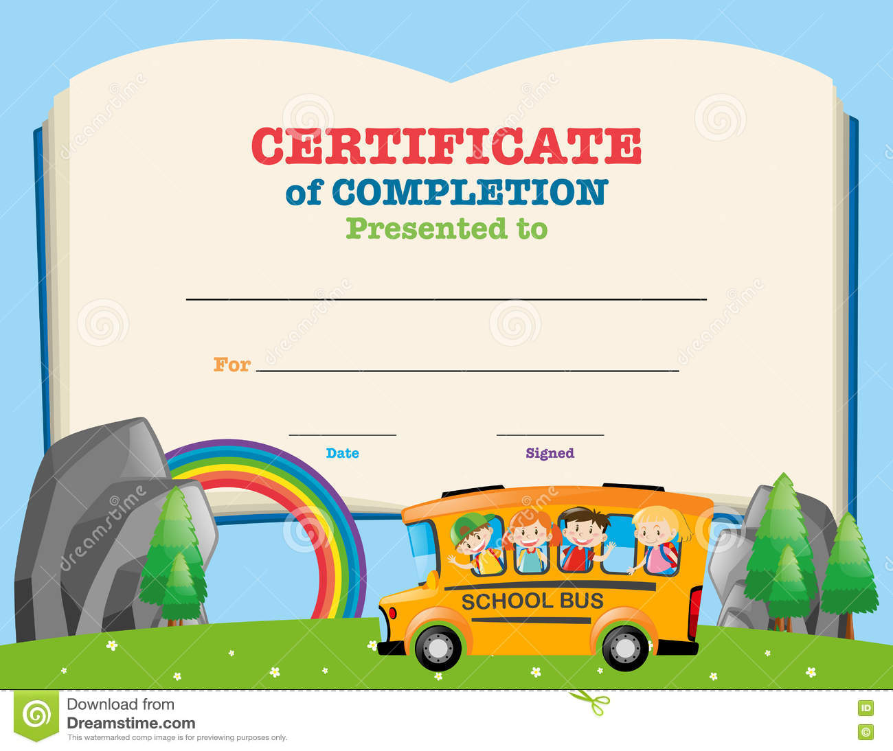 certificate template with kids on school bus stock