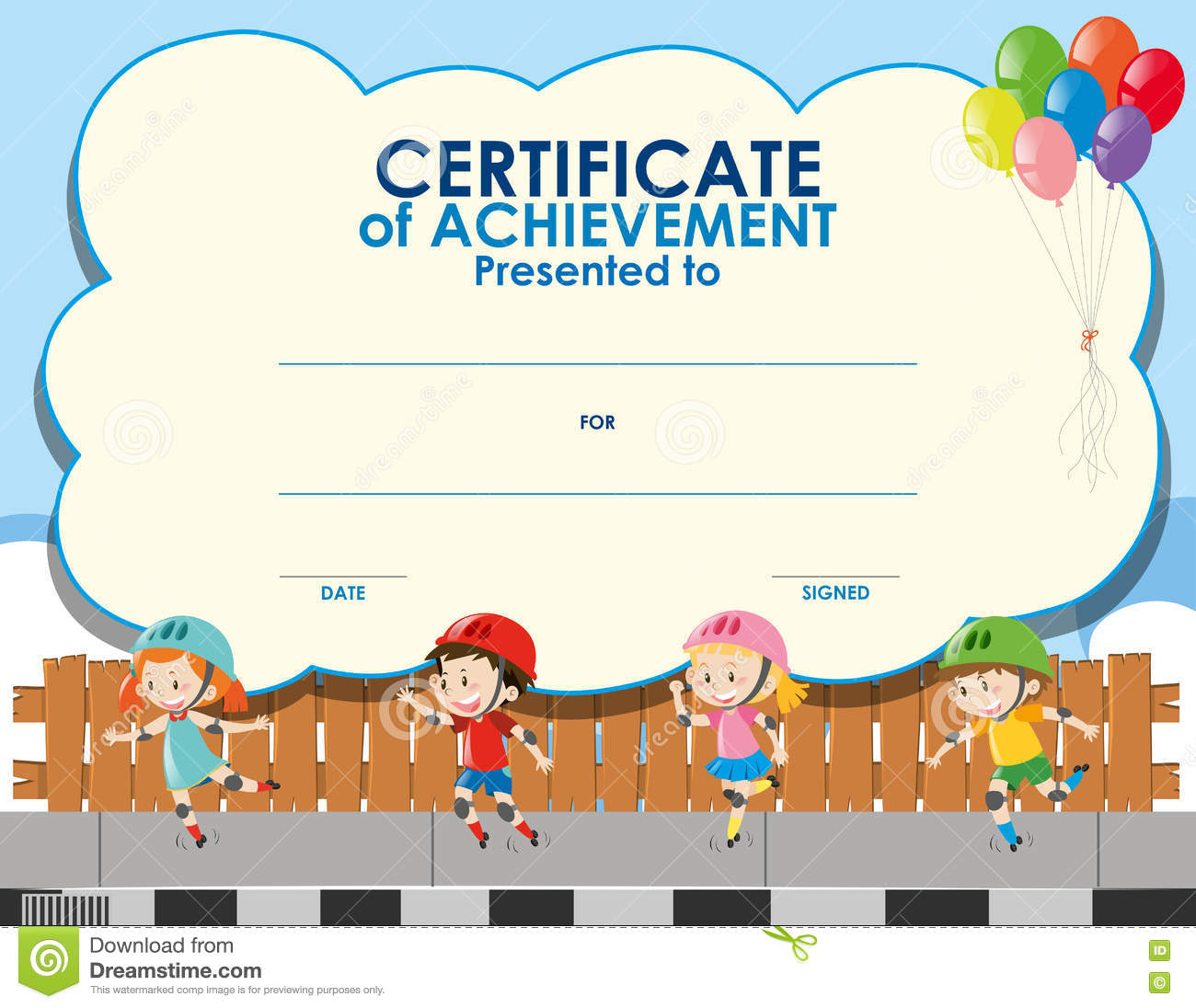 certificate template with kids skating stock illustration image - Free Templates For Kids