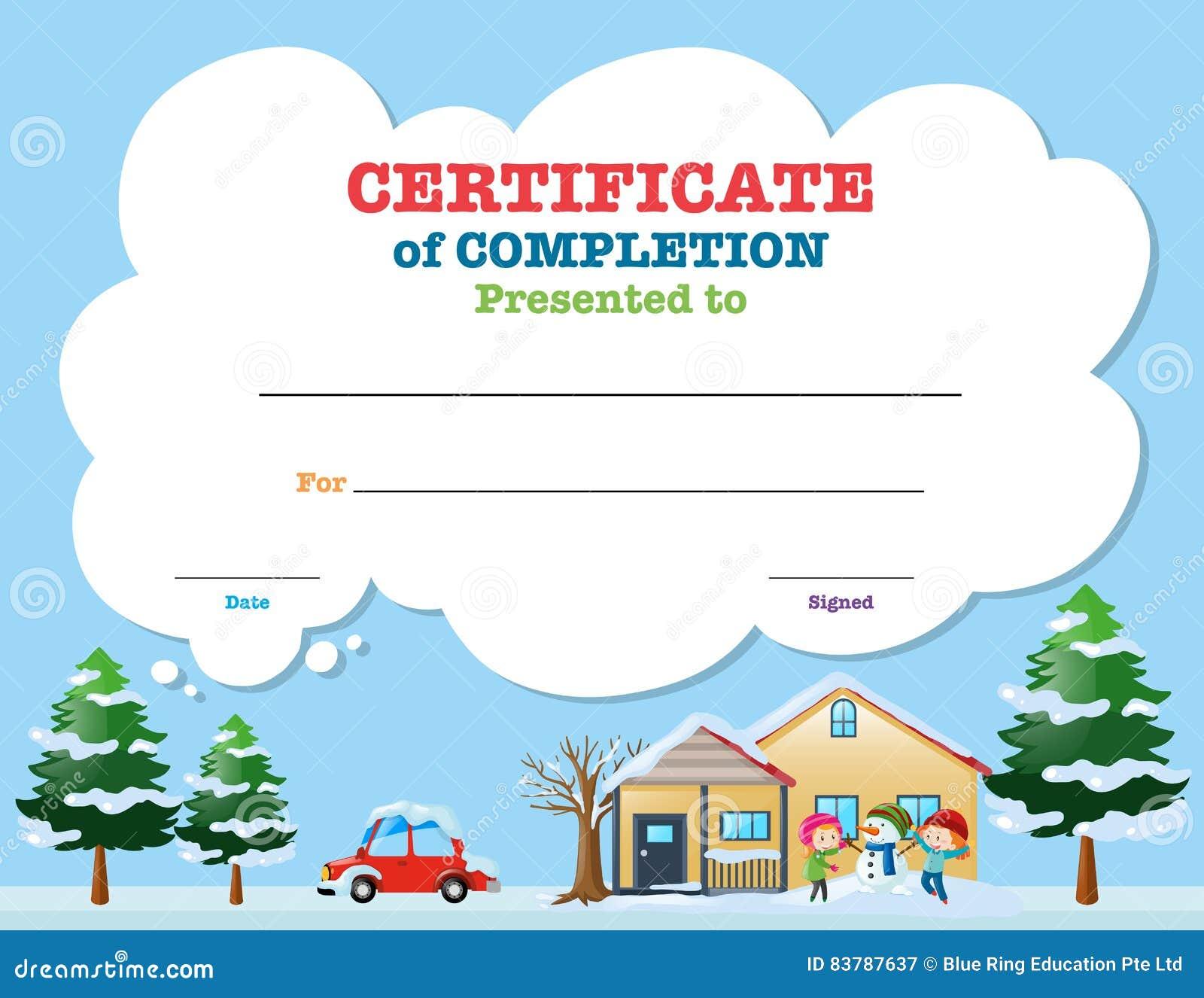 certificate template kids in winter stock vector image certificate template kids in winter