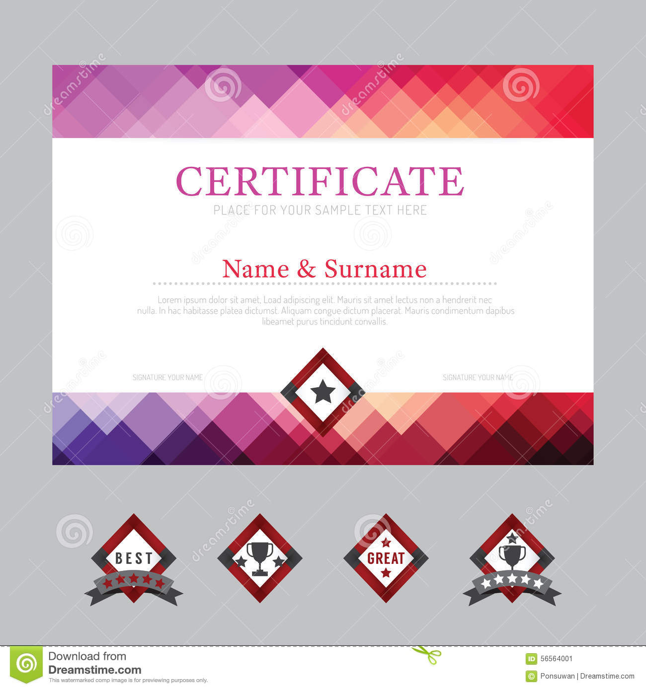 Certificate Template Layout Background Frame Design Vector. Mode Stock ...