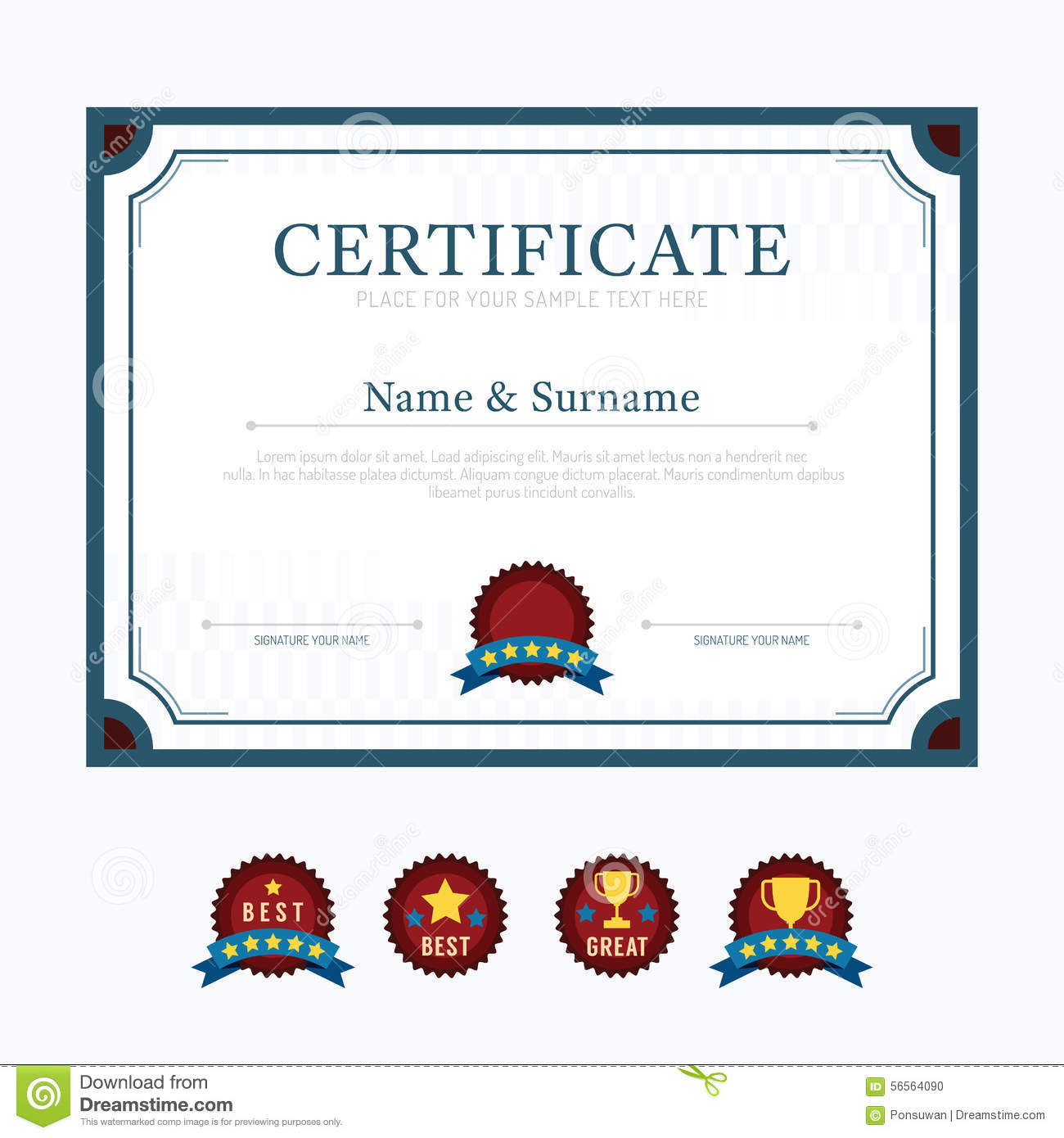 certificate template layout background frame design vector mode stock photo