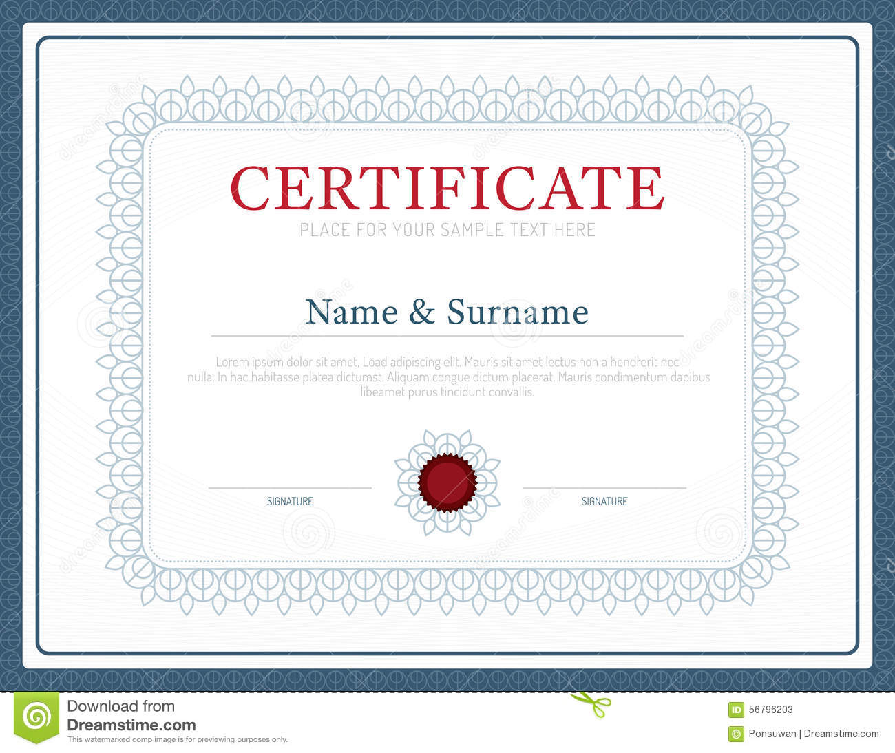 Certificate Template Layout Background Frame Design Vector. Mode  Download Certificate Templates