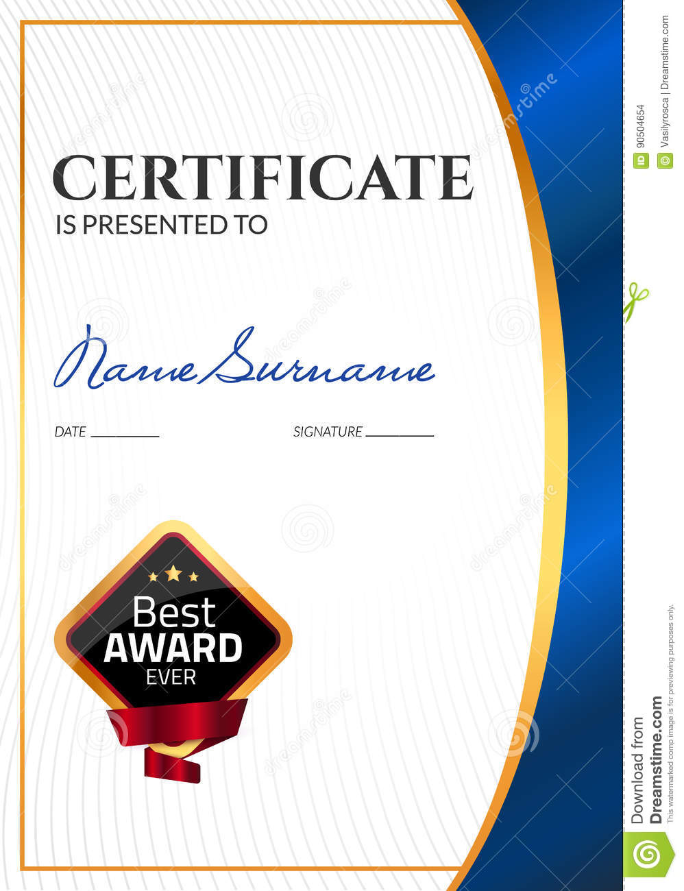 certificate template luxury award  vector business diploma with seal stamp  gift coupon or