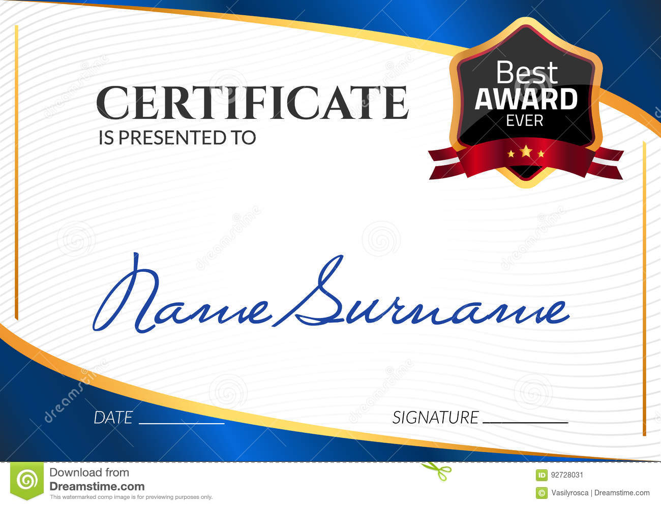 Certificate template luxury award vector business diploma with seal download certificate template luxury award vector business diploma with seal stamp gift coupon or cheaphphosting Images