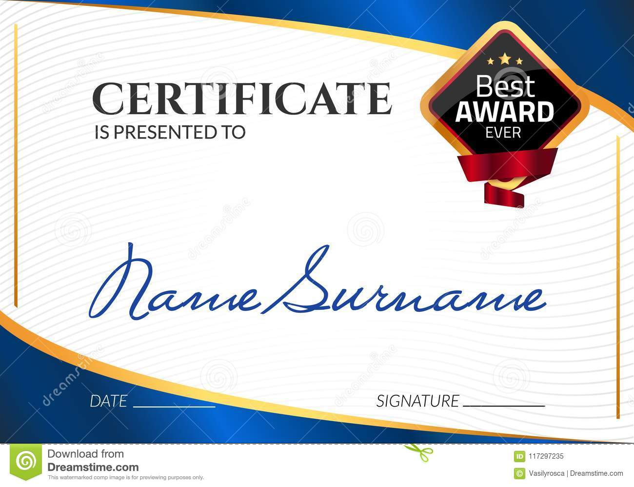 Certificate template luxury award vector business diploma with seal certificate template luxury award vector business diploma with seal stamp gift coupon or success fbccfo Images