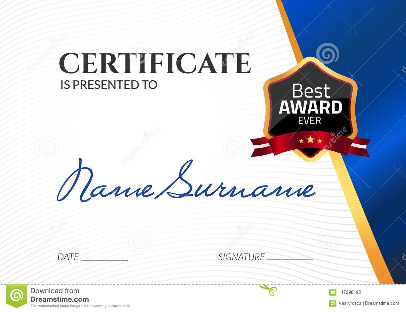 Certificate template luxury award vector business diploma with seal certificate template luxury award vector business diploma with seal stamp gift coupon or success flashek Choice Image
