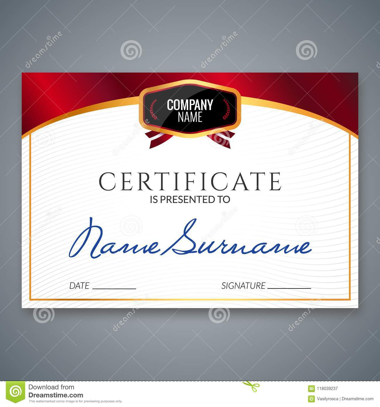 Certificate Template Luxury Award Vector Business Diploma With Seal