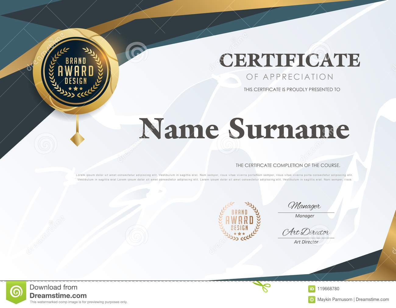 Certificate Template With Luxury Patterndiplomavector Illustration