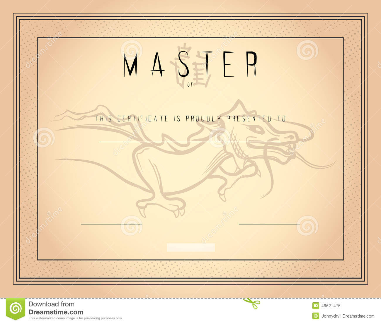 royalty free stock photo  certificate template master of