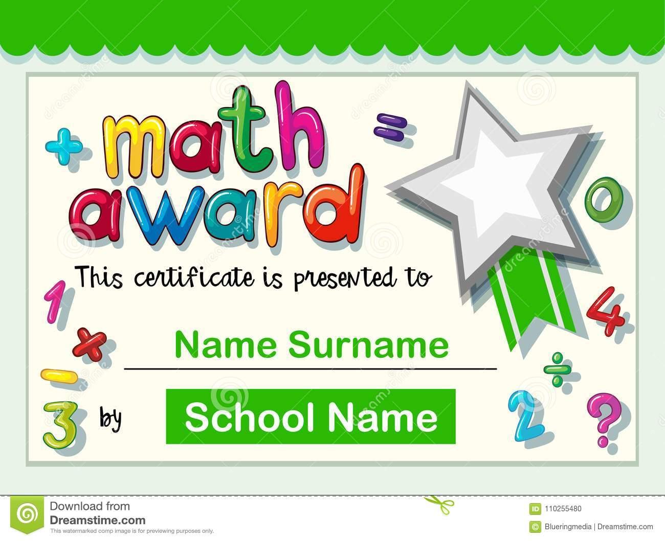 Certificate Template For Math Award Stock Vector Illustration Of
