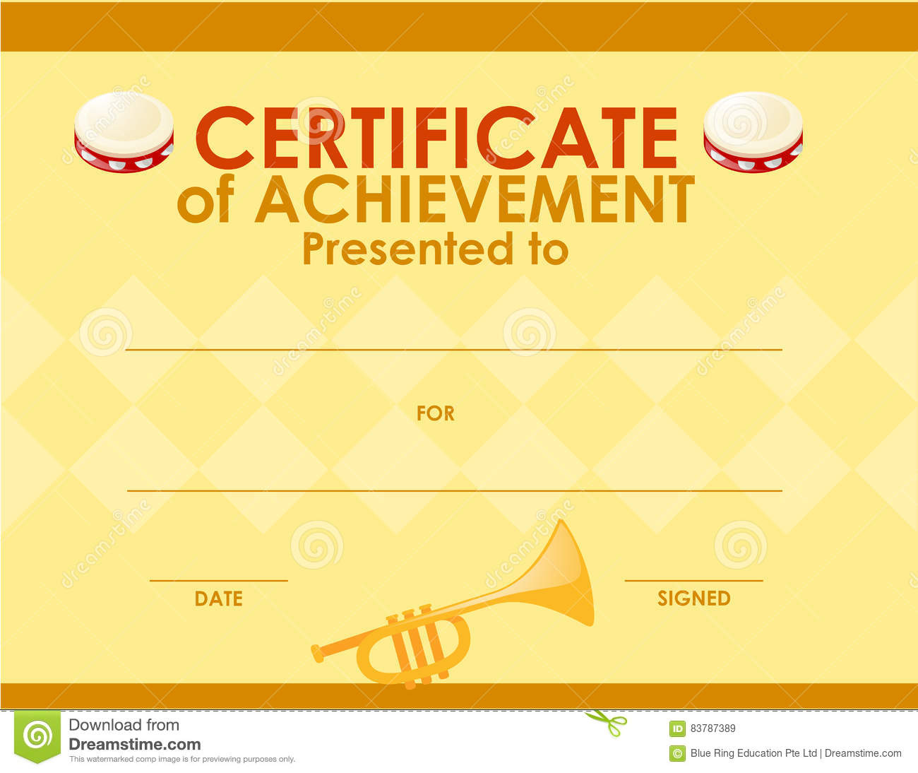 Certificate Template With Musical Instrument Stock Vector