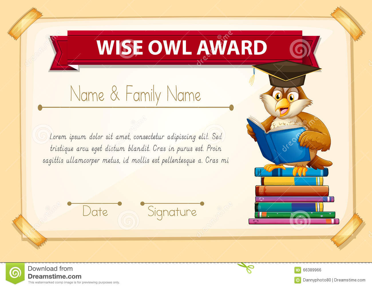 Certificate template with owl reading books stock vector certificate template with owl reading books alramifo Images