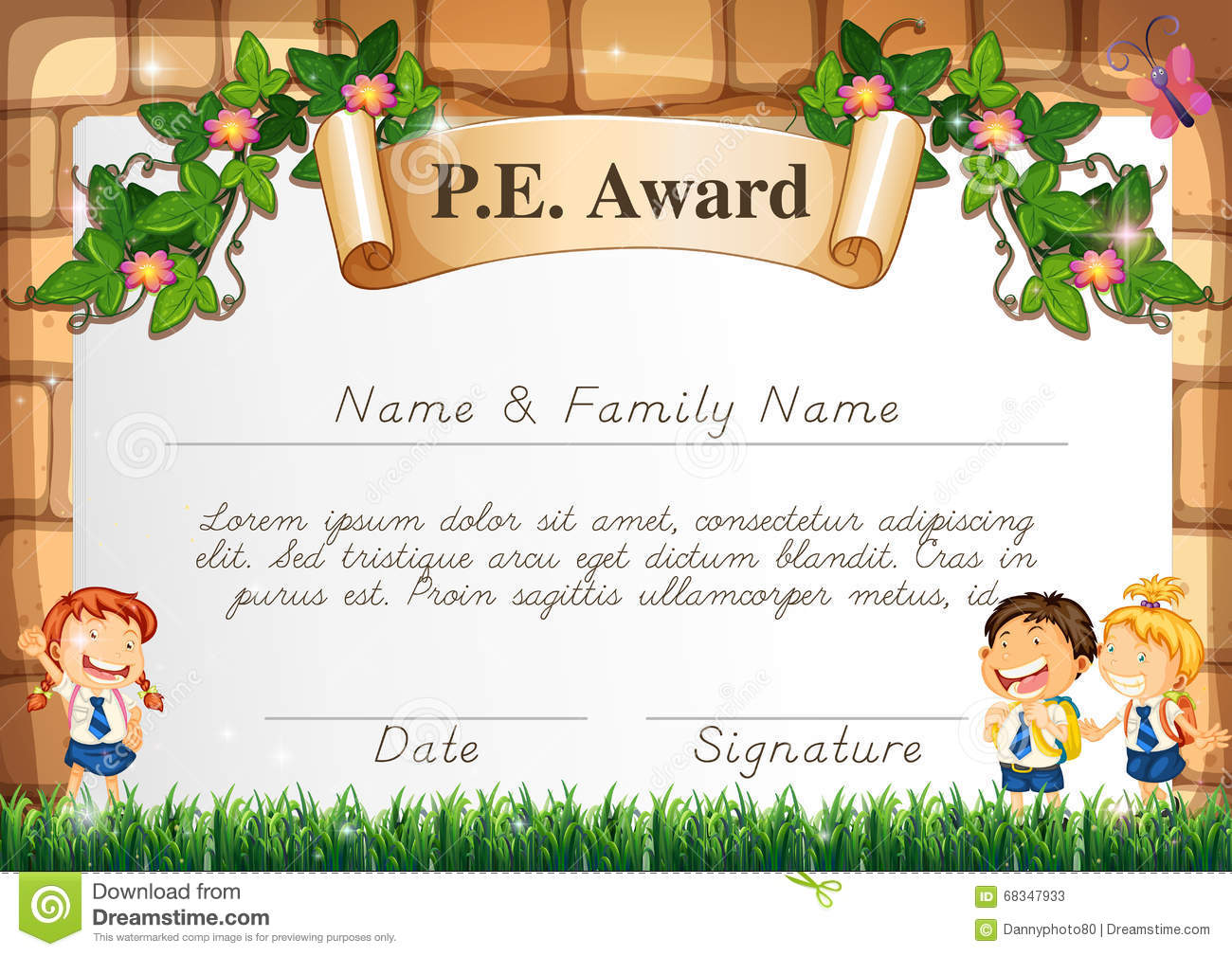 Certificate template for pe award stock vector illustration of certificate template for pe award yelopaper Images
