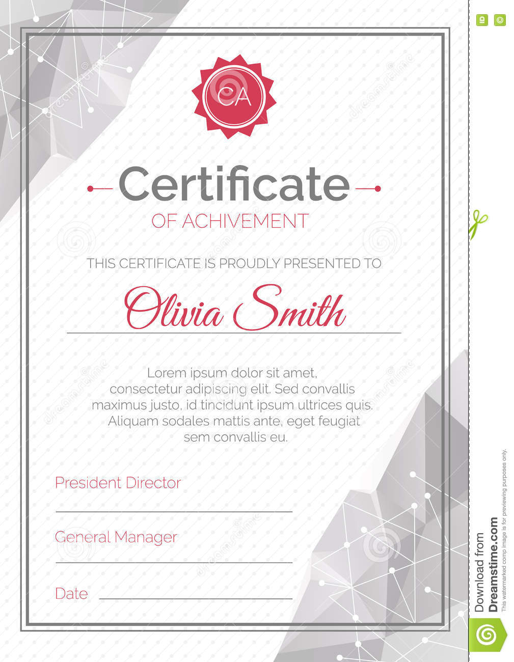 Certificate Template Polygonal Style Diploma Pletion