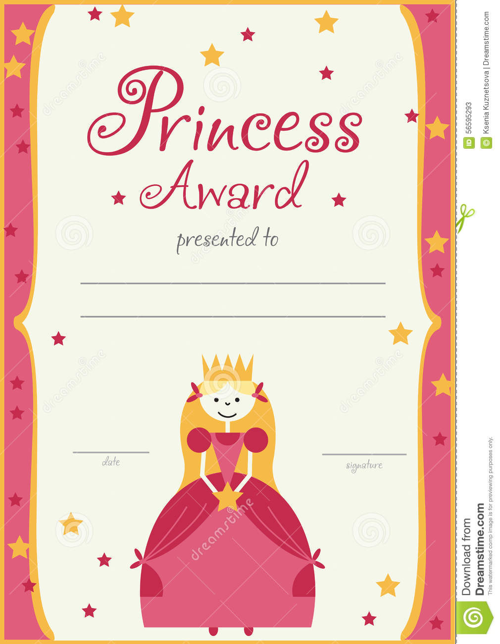 The certificate template princess girls birthday stock for Bravery certificate template