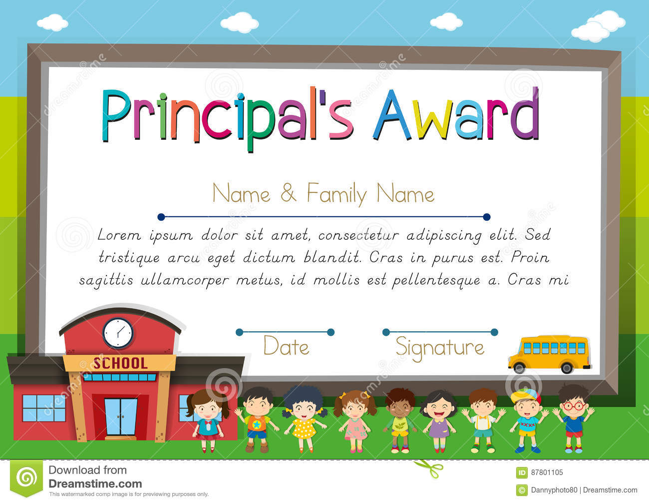 Certificate Template For Principal Award