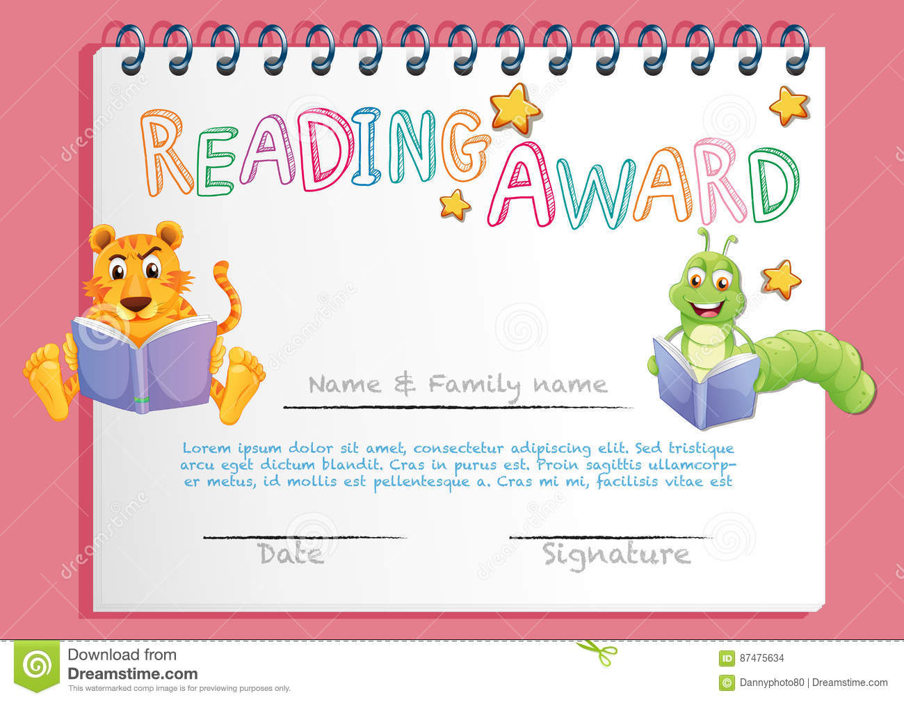 Certificate template for reading award stock vector illustration certificate template for reading award alramifo Images