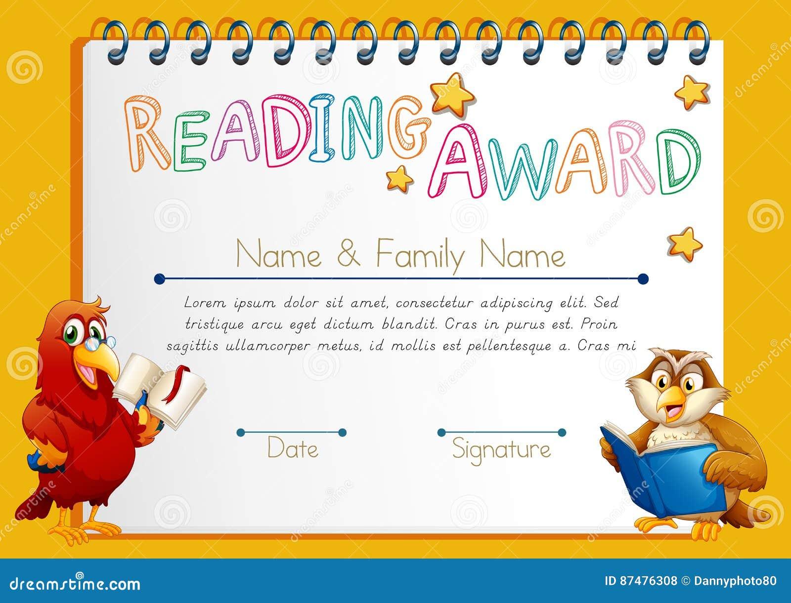 Certificate Template For Reading Award Stock Vector Illustration