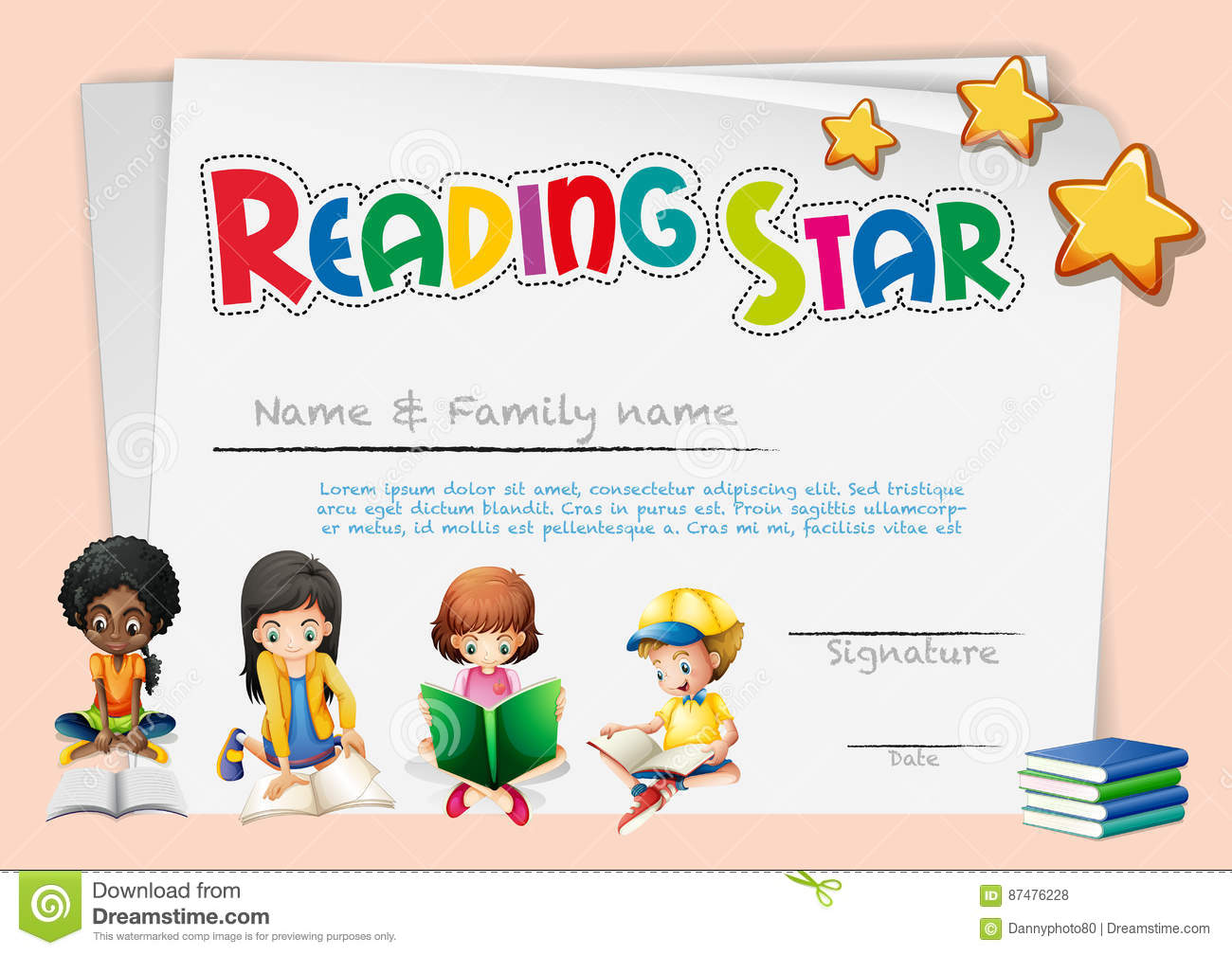 Certificate Template For Reading Star Stock Vector Illustration Of