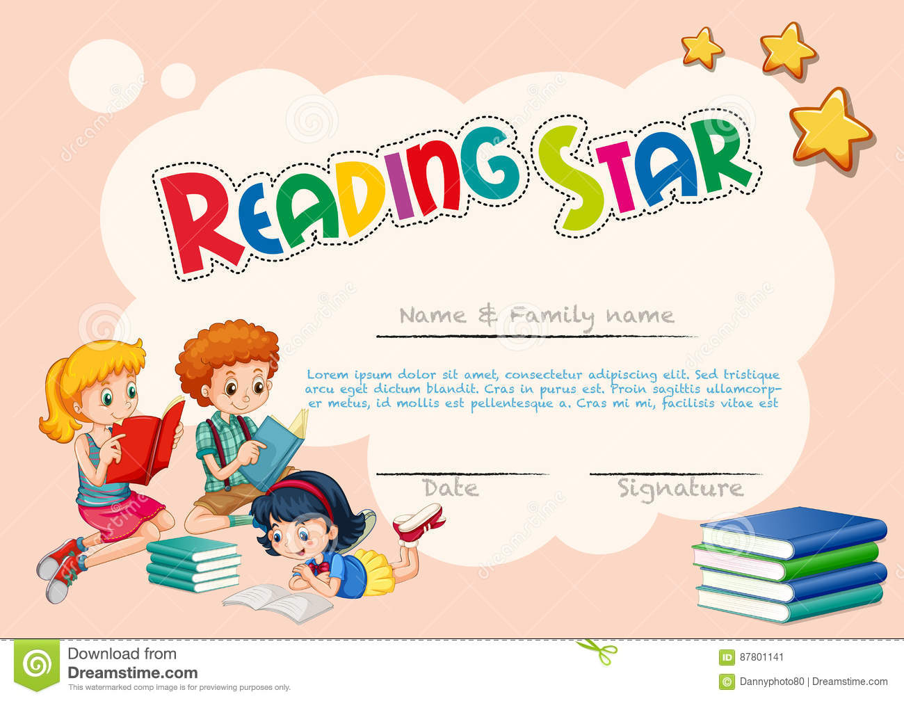 Certificate Template For Reading Star With Pink Background ...