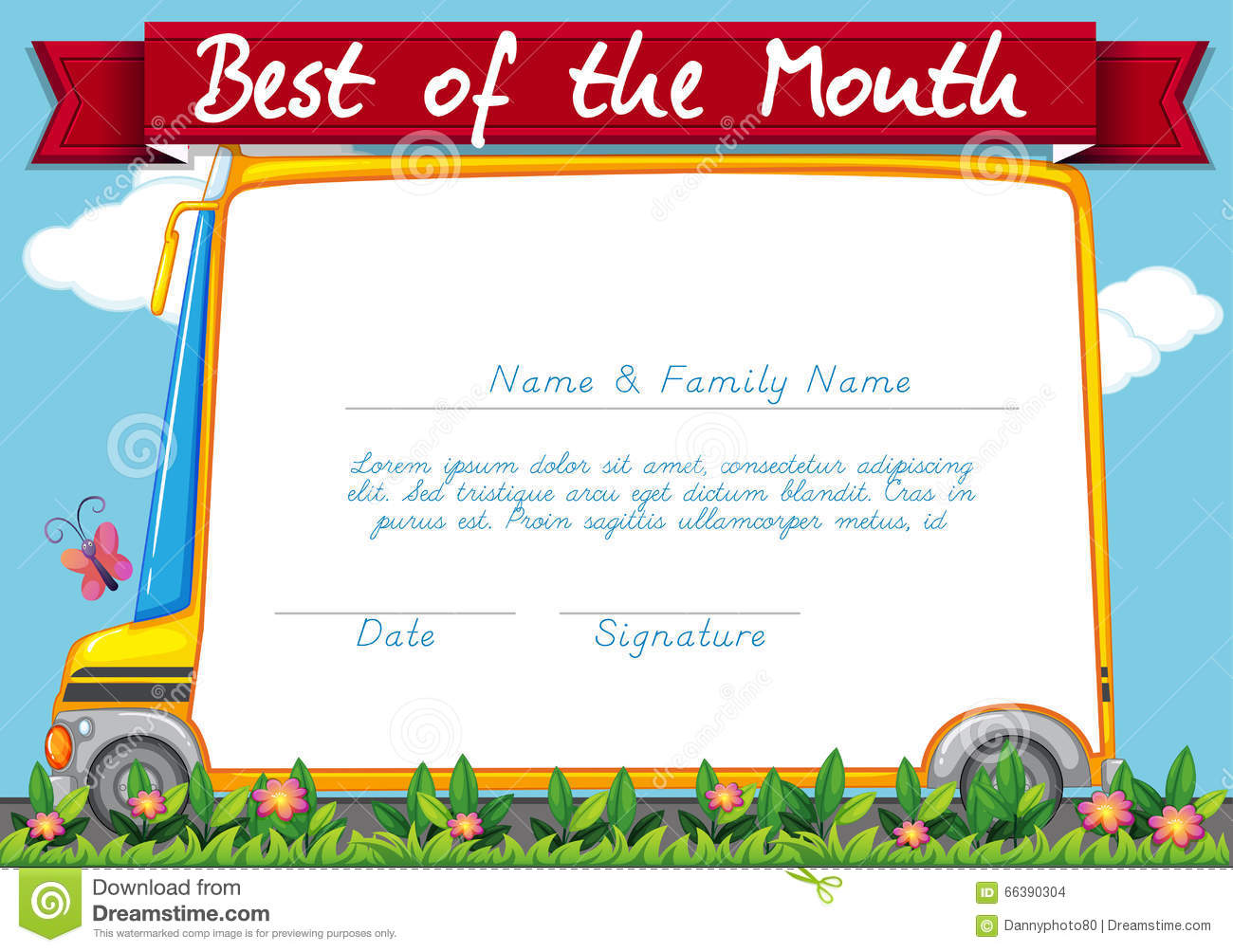 Certificate Template With Schoolbus Background Stock